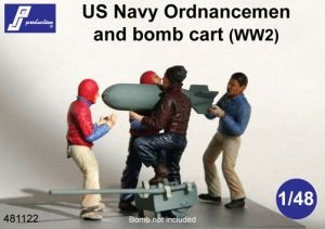 4 x US Navy Ordnancemen & bomb cart