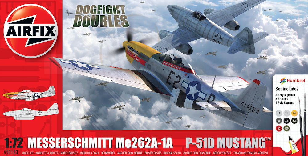 Me262 & P-51D Mustang Dogfight Double m. färg o lim