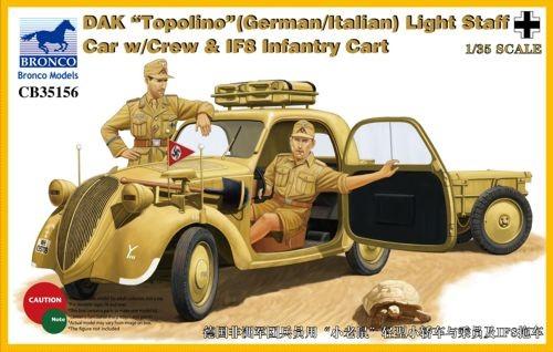 DAK Topolino (German/Italian) Light Staff Car with Crew & IF8 Infantry Cart