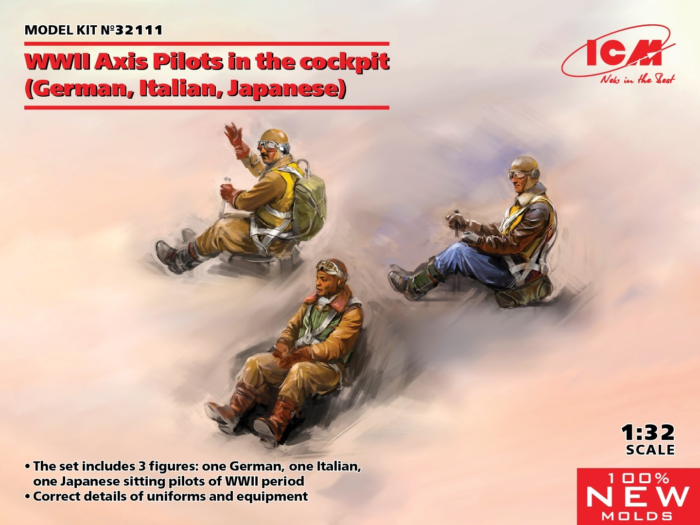 WWII Axis Pilots x 3, seated (Luftwaffe, Italy, Japan)