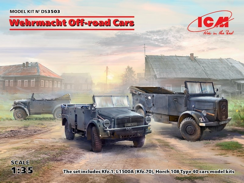 Wehrmacht Off-road Cars (Kfz 1, Horch 108, L1500A) Diorama Set