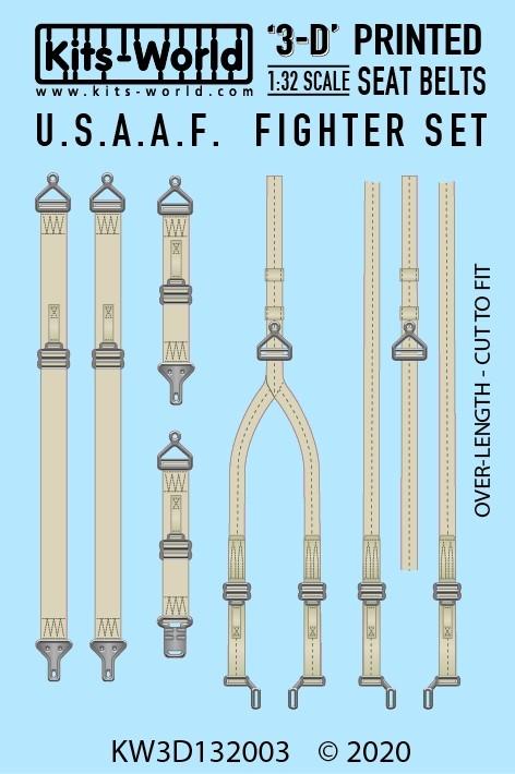 USAF Fighter Seat Belt Set. Full Colour 3D WWII decals.