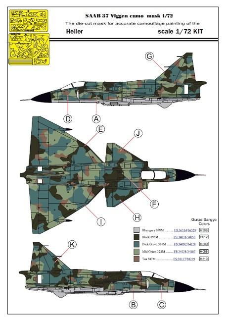 1/72 SAAB 37 Viggen 1-sits splinter kamo målningsmask 1/72