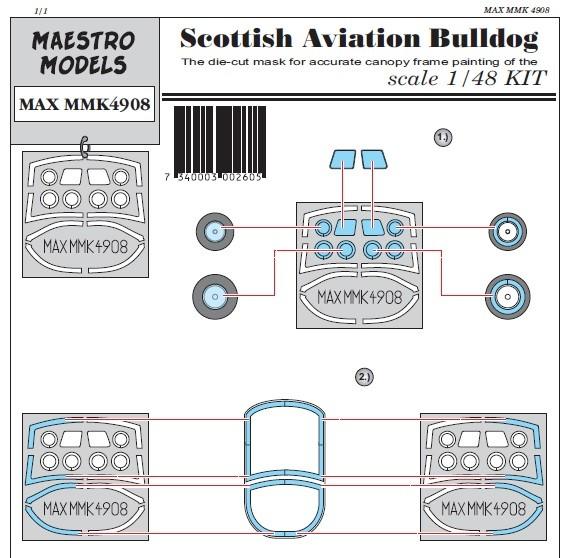 Scottish Aviation Bulldog canopy & wheel masking set