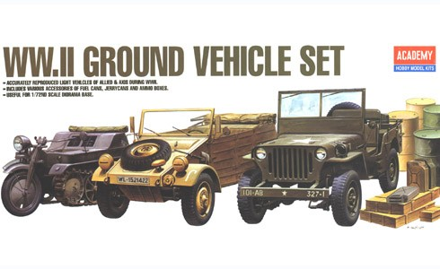 WWII Ground vehicle set; Kettenkrad, Kubelwagen, Jeep