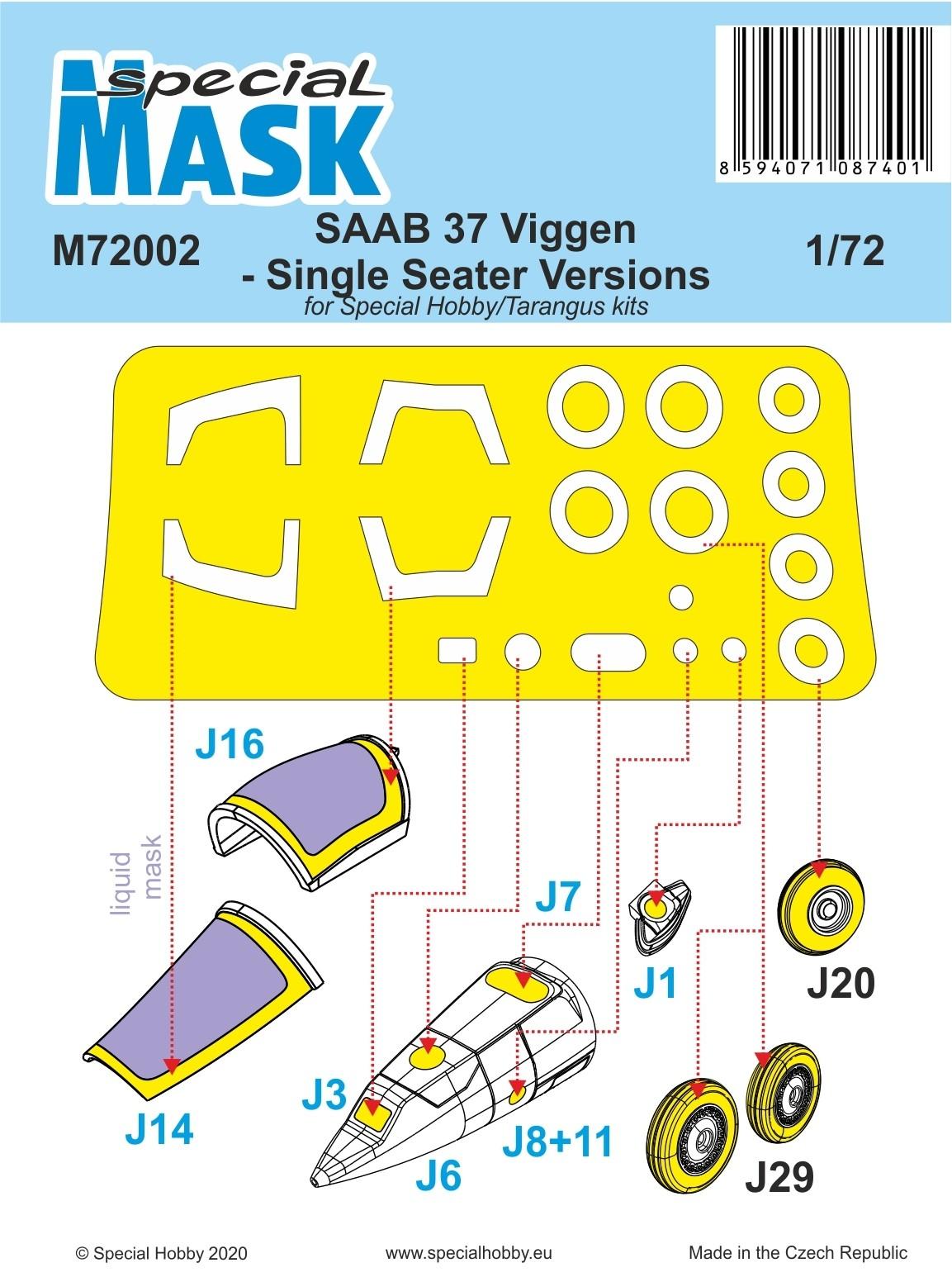 SAAB 37 Viggen single seater paint mask SE INFO