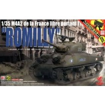 M4A2 de la France libre portant l'inscription Romilly
