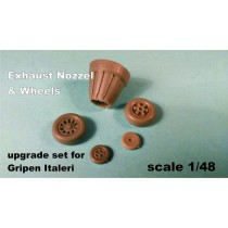 Exhaust nozzle & wheels for Italeri 1/48 Gripen