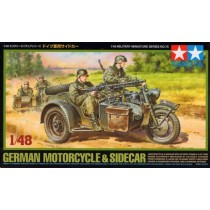 German Motorcycle and Sidecar w. 2 figures