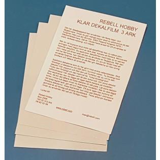 Klar dekalfilm A4 för laserskrivare x 3