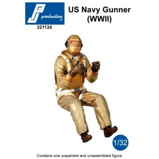 US Navy Gunner seated in a/c (WWII)