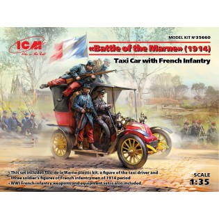 Battle of la Marne (1914) French Taxi w. four figures