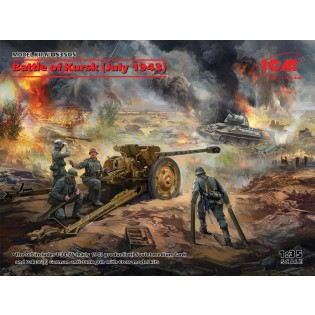 Battle of Kursk (July 1943) T-34-76 (early 1943), Pak 36(r ) w crew (4 figures) Diorama Set