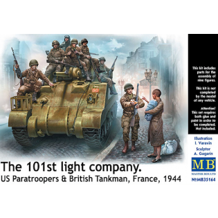 The 101st light company. US paras & Brittish tankman, France 1944. 9 figures