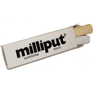 Milliput vit, 2-komponent epoxy spackel. Krymper inte.