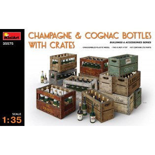 Champagne & Cognac Bottles with Crates