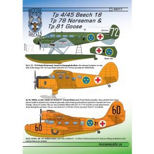 Tp4/45 Beech 18, Tp78 Norseman & Tp81 Goose
