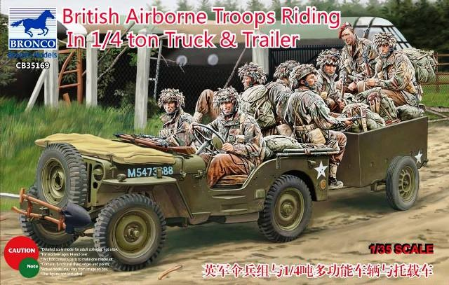 British Airborne Troops Riding in 1/4 ton Truck and Trailer (8 figures)