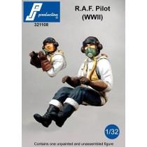 RAF pilot, seated in a/c. WWII