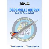Decennial Gripen Czech Air Force JAS39D with decennial tail art