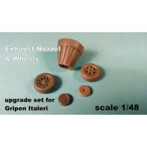 Exhaust nozzle & wheels for Italeri 1/48 Gripen