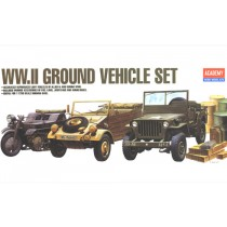 WWII Ground vehicle set; Kettenkrad, Kubelwagen, Jeep