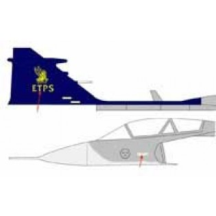 ETPS JAS39B Gripen fin emblem in gold and text in white - ALPS