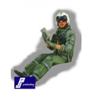 US Navy pilot, seated, modern