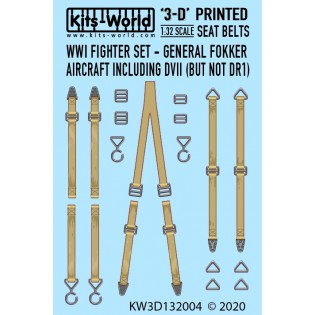 WWI Fokker Seat Belt Set. Full Colour 3D decals.