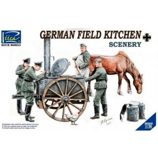 German Field Kitchen with Soldiers (cook & three German soldiers, food containers)