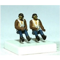 RAF pilots seated in a/c, 2 figures