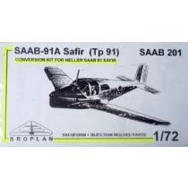 SAAB 91A Safir (Tp91) SAAB 201 conversion for Heller Safir. (J29 Tunnan wing.)