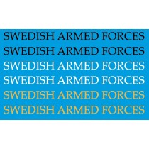 Text SWEDISH ARMED FORCES, 23 mm lång. Hkp15 AW-109 och andra.