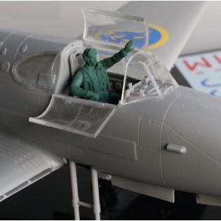 Sittande pilot för SAAB J21