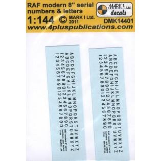 RAF modern 8 inch serial numbers & letters