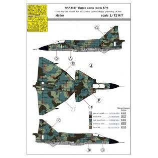 1/72 SAAB 37 Viggen 1-seater splinter camo paint mask 1/72